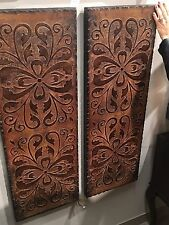 PAIR VINTAGE FRENCH ANTIQUED BROWN GOLD ACCENTS DECORATIVE WALL ART PANELS