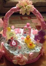Handmade Baby Girl Pink Gift Basket Diaper Cake ~ Made To Order  🍥🍼🎀