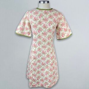Vtg 60's Floral Paisley Lace Sheath Dress Cotton Size S M Ivory Pink Green Mod