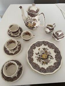 Mason's Ascot Beown Teeservice Braun Englisches Geschirr Porzellan Antiquitäten