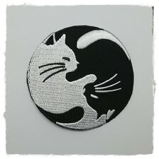 Satanic Symbols Black & White Cat 69 Sew Iron Embroidered On Patch Yin Yang Logo