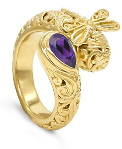 18K Gold Plated Sterling Silver 925 Dragonfly Amethyst DEVATA Ring SFC8537AM