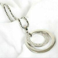 Damen Halskette Kristall Kreis Anhänger Lange Kette Silber Modeschmuck