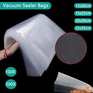100/200 PCS Vacuum Food Sealer Bags Saver Seal Storage Precut Commercial Grade