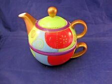 Colorful Two Part Tea Cup And Individual Tea Pot Combo. By Porcelana Brandni