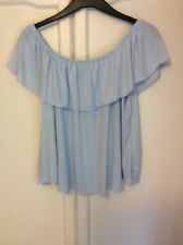 Topshop Tall Pale Blue Off The Shoulder  Top Size 10