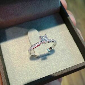 1ct Brilliant Round-Cut Diamond Solitaire Engagement Ring White Gold Over
