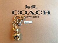 COACH Bear Bag Charm Key Ring Backpack Charm Gold NEW WITH TAGS Teddy Bear