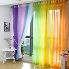 2Pcs Floral Tulle Voile Door Window Curtain Drape Panel Sheer Scarf Divider