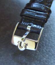 Omega Edelstahl Dornschließe (NOS) mit 18mm Lederband -schwarz-