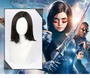 Alita Battle Angel Cosplay Wig+Hairnet Short Hair Prop Black-brown Masquerade