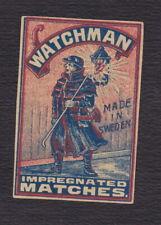 Ancienne étiquette allumettes Suède BN122998 Watchman