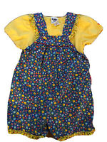 Vintage Osh Kosh Girls Flower Short Overall Set Ruffled Edges Yellow Top 3T