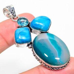 "Gemstone Handmade 925 Sterling Silver Jewelry Montana Agate Pendant Size 2.20"""