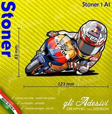 Adhésif Motorrad Casey Stoner 27 1 caricature stickers carénage casque 12 x 8 cm