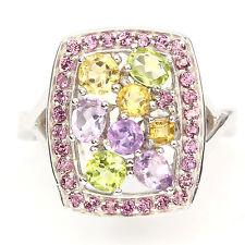 Ring Rhodolit Amethyst Citrin Peridot 925 Silber 585 Weißgold vergoldet Gr. 55