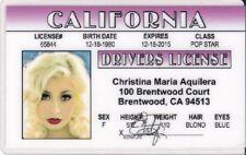 Christina Aquilera fun Novelty  Drivers License - - fun fake i.d. card