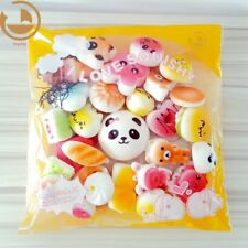 Set 30 Soft Squishy Bread Jumbo Medium Mini Panda Cake Bun Phone Strap Random