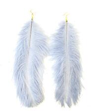 Gold Grey Ostrich Feather Earrings Drop Long Big Hook Boho Dangle Festival 862