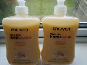 2 x 500ml Enliven MILK & Honey Hand Wash PH Balanced Moisture PLUS (be 99p START