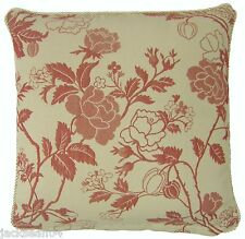 """RED PINK BEIGE THICK WOVEN FLORAL LEAF PIPED CUSHION COVER 18"""" - 45CM #AYERF"""