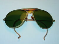 VINTAGE GREEN LENS SUNGLASSES 1980's RETRO NEW WAVE Gold Metal Frame B-1