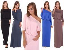 Kleid Lang Maxi Kleid elastischer Bund 3/4 Arm Gr. 36 38 40 42 44 46, 8214