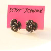 New Betsey Johnson Black Rose Stud Earrings Gift Fashion Women Party Jewelry