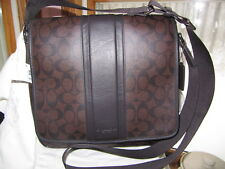 #NEW COACH MAHOGANY BROWN COACH MENS HERITAGE STRIPE MAP BAG f71102 MSRP $328