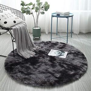 Round Gradient Rug Plush Soft Carpet Blanket Floor Mat Cushion Rugs Home