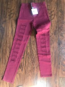 Umgee Womens Small Destroyed Leggings Wine Pants Jeggings Distressed NEW Casual