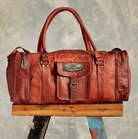 Men's New Genuine Goat Leather Travel Gym Luggage Duffel Vintage Brown Tote Bag