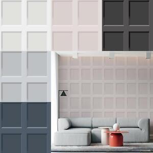 Heritage Wood 3D Effect Panel Wallpaper Debona Blue Grey White Wooden Panel