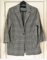 Zara Womens Black & White Prince Of Wales Check Jacket Coat Blazer Sz L Blogger