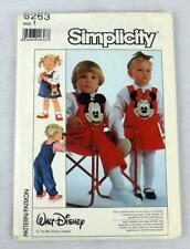 Simplicity #8263 Sewing Pattern Disney Overalls Jumper For Toddler Size 1 Uncut