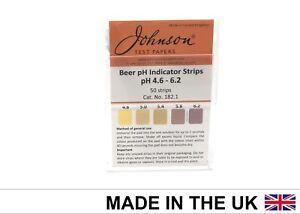 pH Indicator Strips pH range 4.6 - 6.2 - 50 Strips For Homebrew Beer