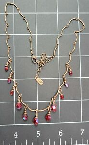 """1928 19"""" Necklace with Red Iridescent Teardrop Beads"""