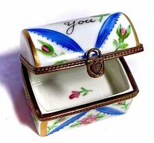 French Limoges Love Lock Treasure Chest Trinket Box Peint Main Limoge