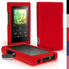 Red Silicone Gel Skin Case for Sony Walkman NW-A35 NW-A40 Cover + Screen Prot