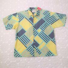 New Vtg 80s 90s Men Small Button Up Geometric short Sleeve Shirt Yellow Gray Nos