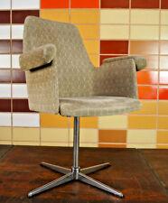 70er Chrom Drehstuhl Schreibtisch Stuhl Club Sessel Loungesessel Space Age 1/3