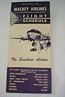 Vintage 1950's Flight Schedule MACKEY AIRLINES Fort Lauderdale to Havana, Cuba