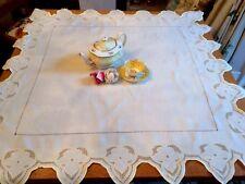 """Pretty Vintage Giallo Limone Cutwork TOVAGLIA Profondo QUADRATO smerlato EDGE 46"""""""