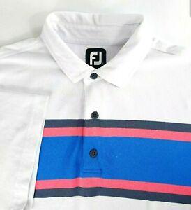 FootJoy FJ XL Briar Ridge Men's Polo Golf Shirt White Striped
