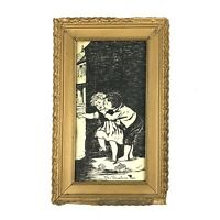 "Antique Ink Drawing ""The Unwelcomed Kiss"" With Gold Gesso Frame 13""x8"""