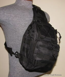 Tactical Backpack Crossbody Bag, Sling Bag, 3 Pouch, Tactical Black, Molle ,Hike