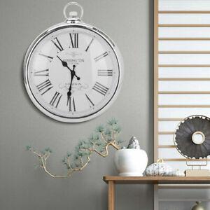 Large Wall Clock 42cm Pocket Fob Watch Round Vintage Retro Decor Style Silver