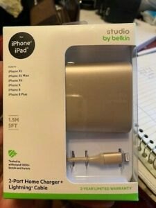 NEW Studio by Belkin 2 Port 24W 4.8AMP Home Charger + 1.5M Lightning Cable GOLD