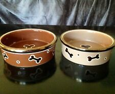 """Top Paw Lot of 2 Bones 5"""" Dog Bowls Brown Tan Gold Rimmed for Puppies Toy Breeds"""