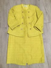 Tahari Skirt Yellow Metallic Tweed Double Breasted Jacket Skirt Suit Sz 14W
